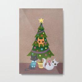 Meowy Christmas Metal Print