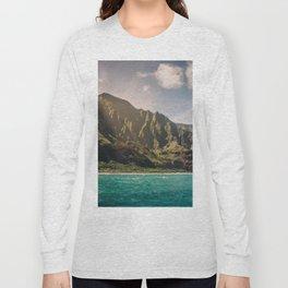 Na Pali Coast Kauai Hawaii Printable Wall Art   Tropical Beach Nature Ocean Coastal Travel Photography Print Long Sleeve T-shirt