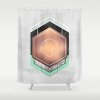hexagon Shower Curtains featuring Hexagon Abstract #1 by Elisabeth Fredriksson