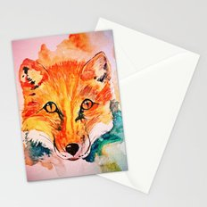 Watercolor Fox Cute Animal Portrait Painting Stationery Cards