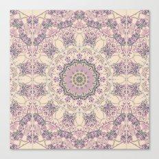 47 Wisteria Circle - Vintage Cream and Lavender Purple Mandala Canvas Print