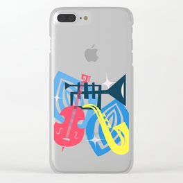 Jazz Composition With Bass, Saxophone And Trumpet Clear iPhone Case