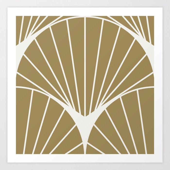 Diamond Series Round Sun Burst White on Gold Kunstdrucke