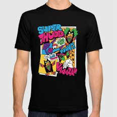 Super Thudd & Super Bat (Retro Superhero) MEDIUM Black Mens Fitted Tee