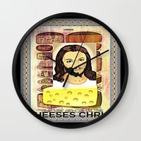christ Wall Clocks featuring CHEESES CHRIST by Kathead Tarot/David Rivera