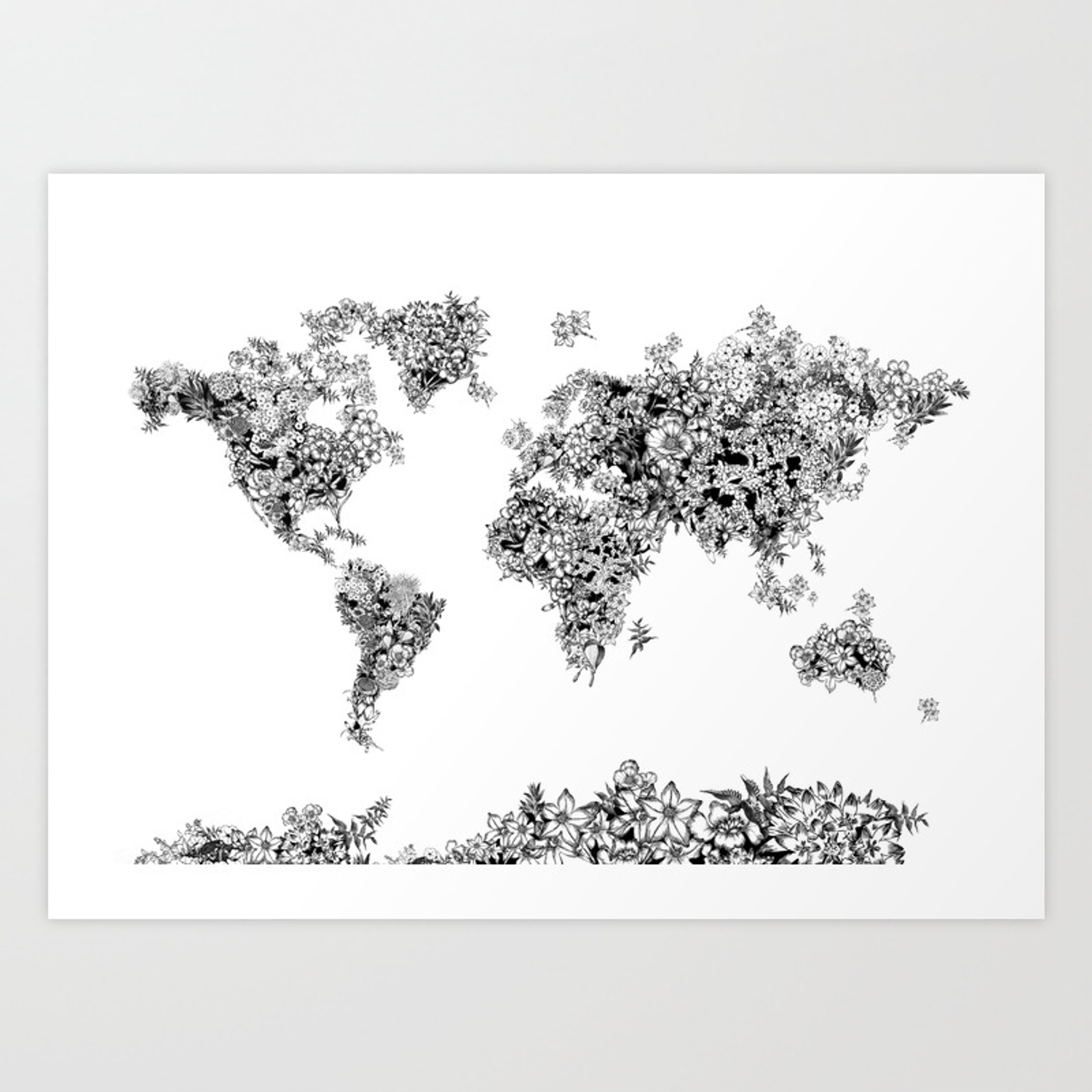 Floral world map black and white art print