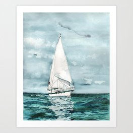 Sailboat painting on turquoise waters stormy skies Art Print