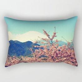 Mountains & Flowers Landscape Rectangular Pillow