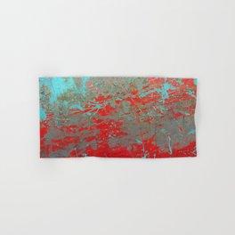 texture - aqua and red paint Hand & Bath Towel