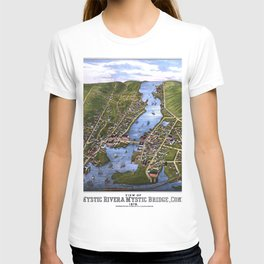 MYSTIC RIVER CONNECTICUT city old map Father Day art print T-shirt