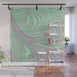 Violet mint green abstract watercolor marble Wall Mural