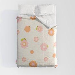 Sweet pink and orange flowers over beige Comforters