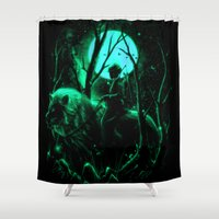 hunter Shower Curtains featuring The Hunter by nicebleed