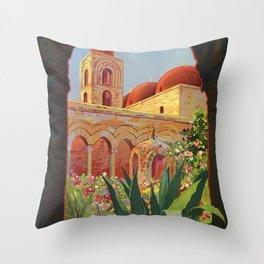 vintage 1920s Palermo Sicily Italian travel ad Throw Pillow