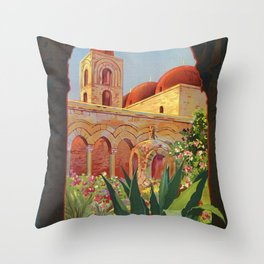 vintage 1920s Palermo Sicily Italian travel ad Throw Pillow