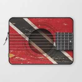 Old Vintage Acoustic Guitar with Trinidadian Flag Laptop Sleeve