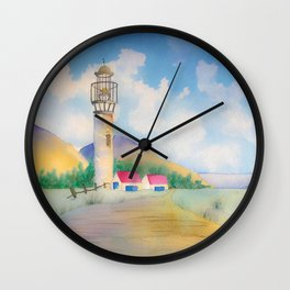 Lighthouse by the sea watercolor Wall Clock