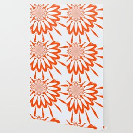 The Modern Flower White & Orange Wallpaper