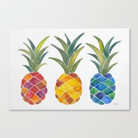 pineapples Canvas Prints featuring Pineapples by Cat Coquillette