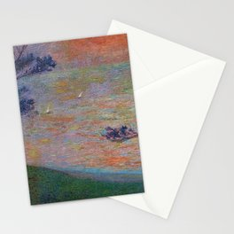 Colorful 'Sunset at Sea' nautical coastal landscape by Henri Jean Guillaume Martin Stationery Cards