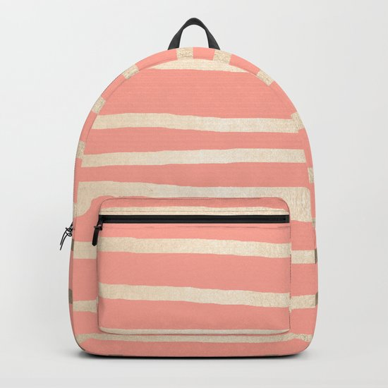 Simply Drawn Stripes in White Gold Sands and Salmon Pink Backpack