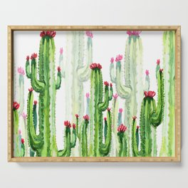 Green Cactus Field Serving Tray
