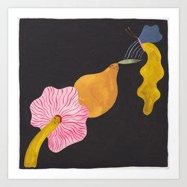 Mushroom, Pear and Butterfly Art Print