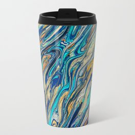 Copper and Teal Abstract Painting Travel Mug