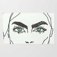 cara delevingne Area & Throw Rugs featuring Cara delevingne by Mary Naylor