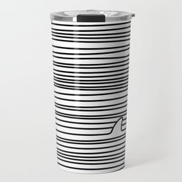 Minimal Line Drawing Simple Unique Shark Fin Gift Travel Mug