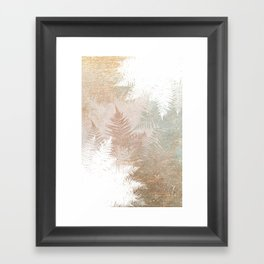 Fern Snowflakes - Golden, bronze & Sage Framed Art Print