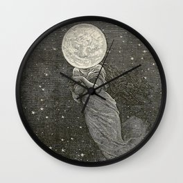 AROUND THE MOON - EMILE-ANTOINE BAYARD Wall Clock