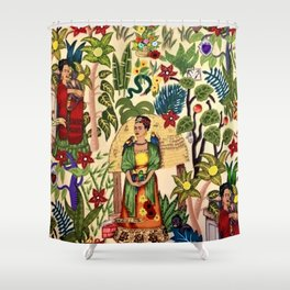 Coyoacán Mexican Garden of Casa Azul Lush Tropical Greenery Floral Landscape Painting Shower Curtain