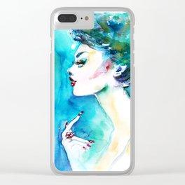 Blue fashion illustration Clear iPhone Case
