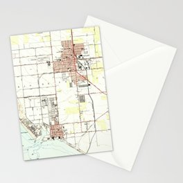Vintage Map of Oxnard California (1949) 2 Stationery Cards