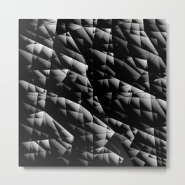 Toned pattern of chaotic black and white glass fragments, irregular cubic figures and ice floes. Metal Print