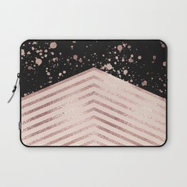 Luxury Rose Gold Pink Black Chevron Paint Splatter Laptop Sleeve