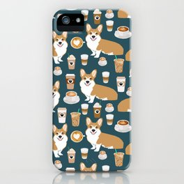 Corgi Coffee print corgi coffee pillow corgi iphone case corgi dog design corgi pattern iPhone Case