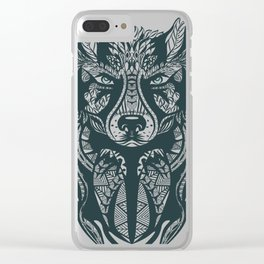 Wolf Head Tribal Illustration Clear iPhone Case