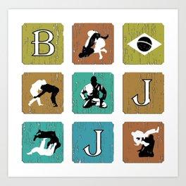 BJJ T Shirt, Brazilian Jiu Jitsu, Brasil, MMA, Mixed Martial Arts, Sensei Gift Art Print