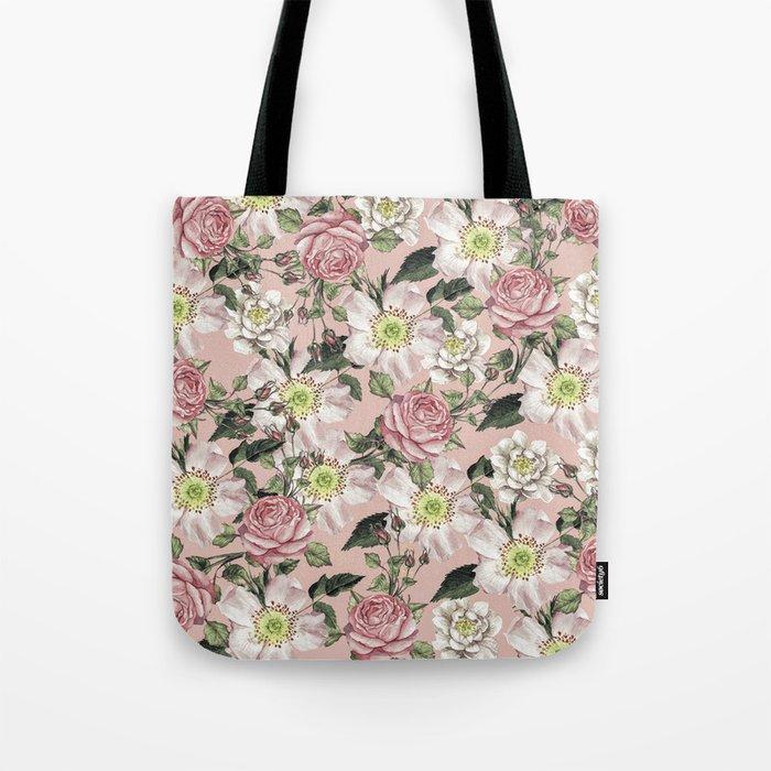 Vintage Rose Pattern Pink Tote Bag