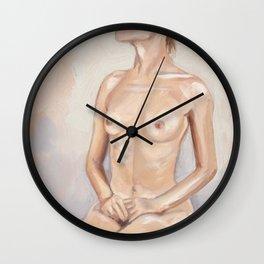 Nude Seated on Floor Wall Clock
