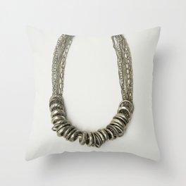 Mongolian silver necklace Throw Pillow