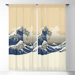 The Great Wave of Pugs Vanilla Sky Blackout Curtain