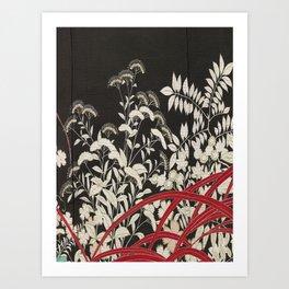 Kuro-tomesode with a Pair of Pheasants in Hiding (Japan, untouched kimono detail) Art Print