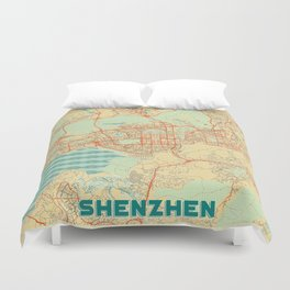 Shenzhen Map Retro Duvet Cover