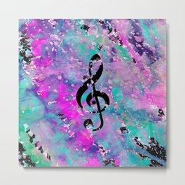 Artistic neon pink teal black watercolor classical music note Metal Print