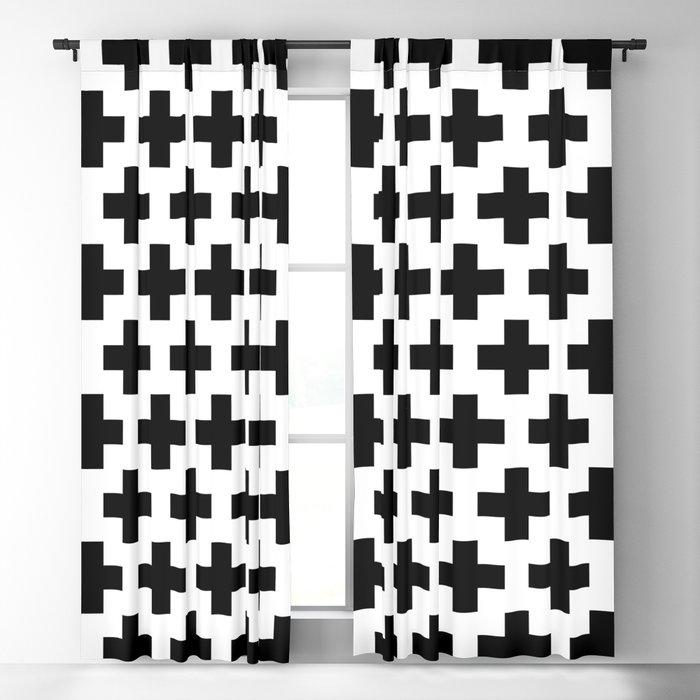 Swiss Cross B&W Blackout Curtain