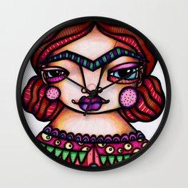 JennyMannoArt Colored Illustration/Frida by JennyMannoArt Wall Clock