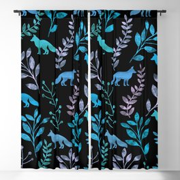 Watercolor Floral & Fox IV Blackout Curtain